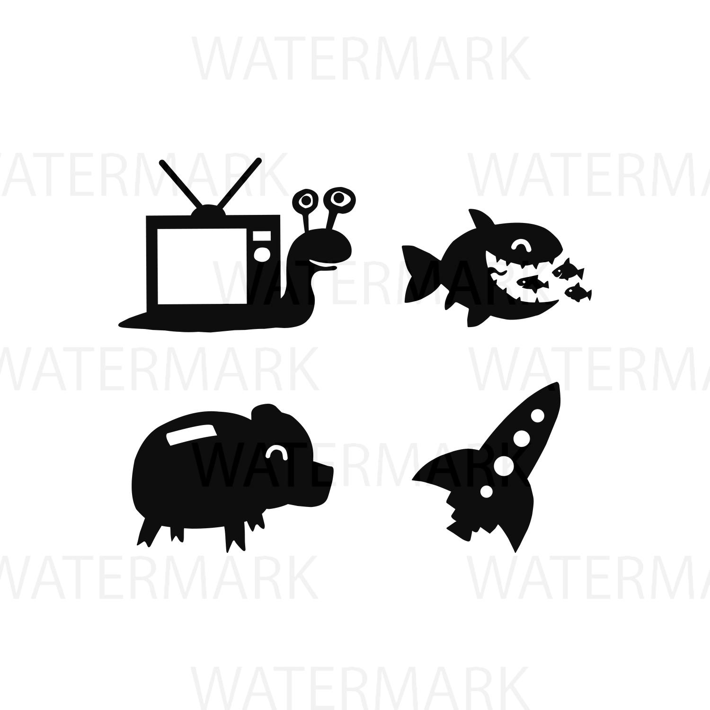 Elements Of Snail Tv Big Fish Eating Small Fish Pig Money Bank And Rocket Spaceship Svgjpgpng Hand Drawing