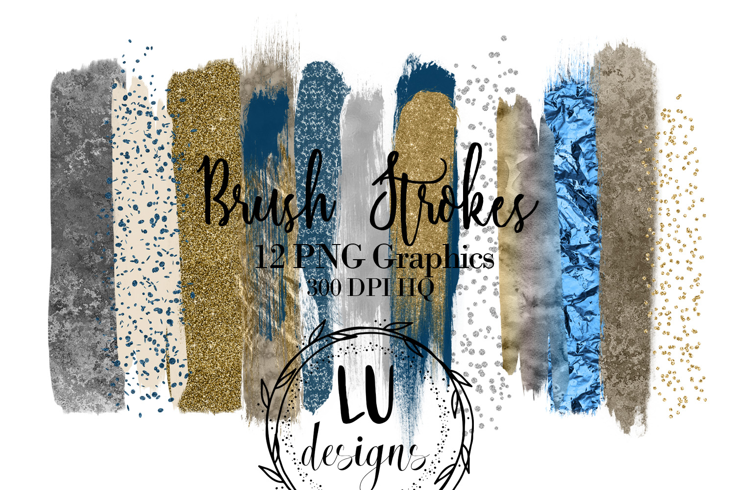 Gold, Silver, and Navy Blue Brush Strokes example image 1