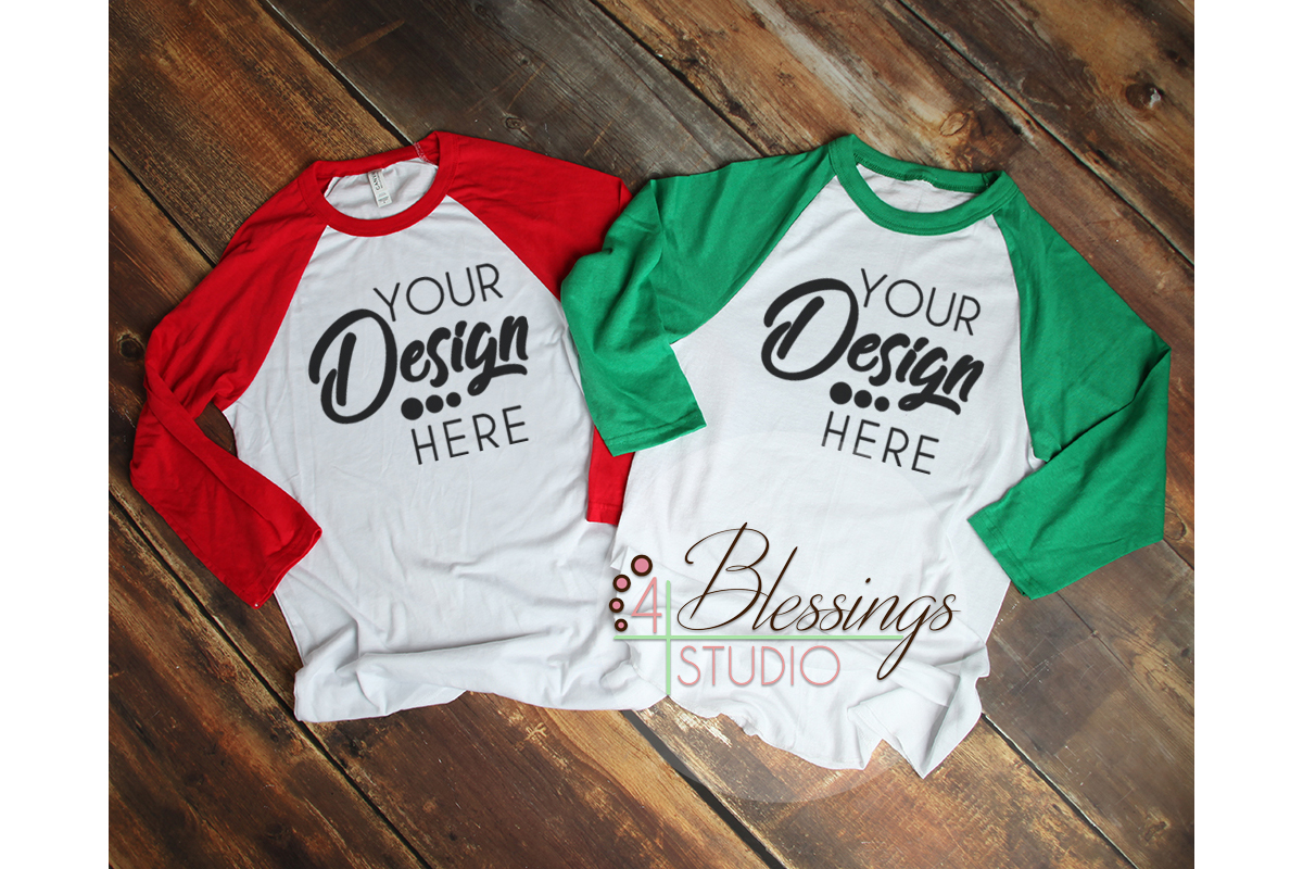 Raglan Shirt Couples Mockup Bella Canvas 3200 Baseball example image 1