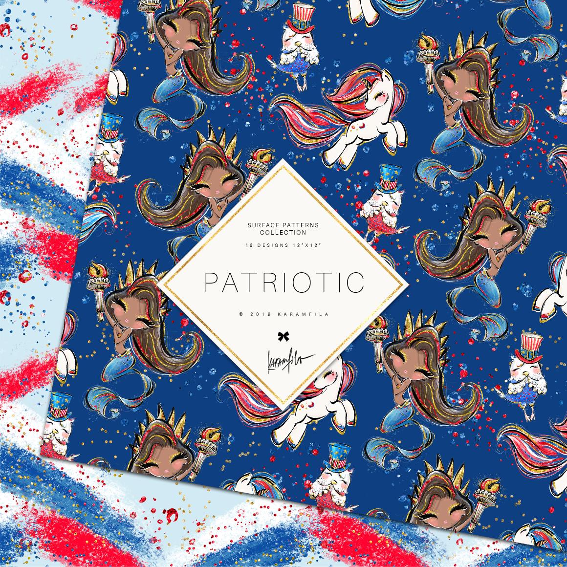 4th of July Mermaid Unicorn Patterns example image 7
