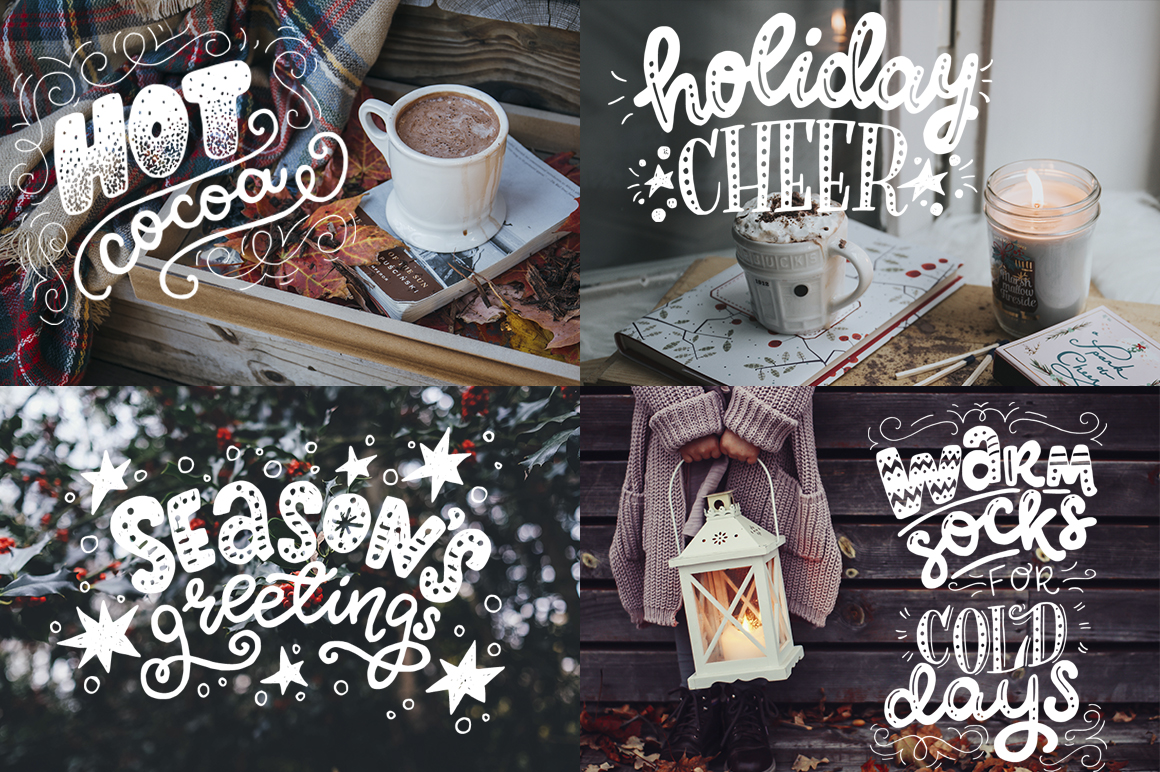 Cozy Christmas Lettering & Clipart example image 8