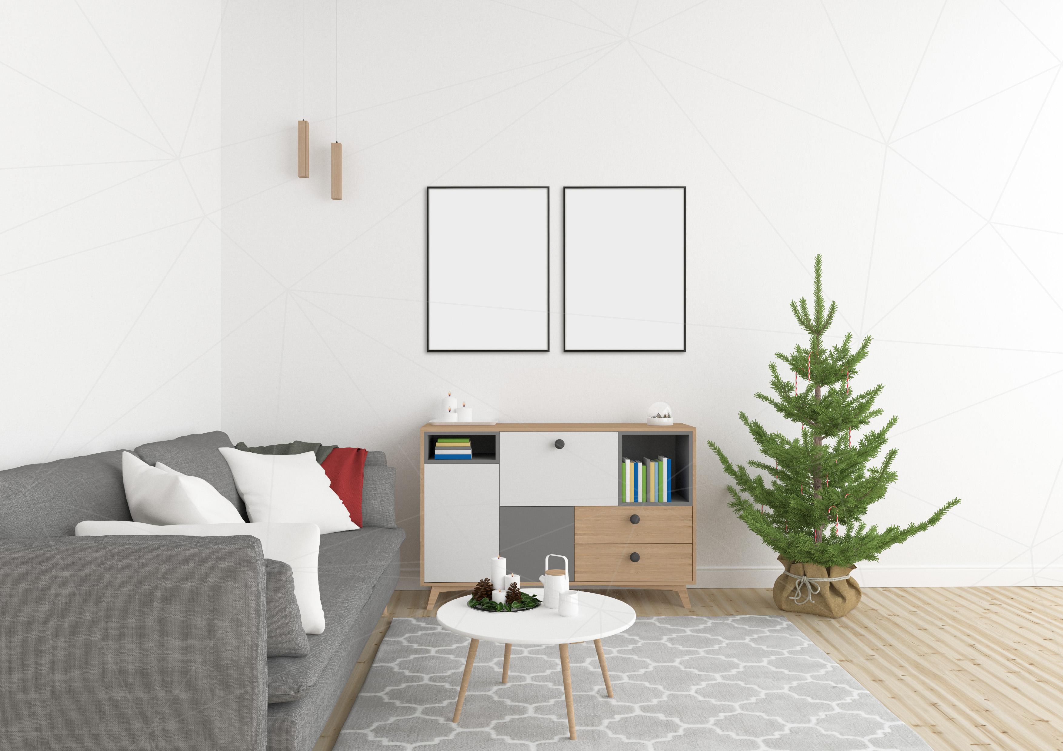 Christmas interior mockup bundle - blank wall mock up example image 4