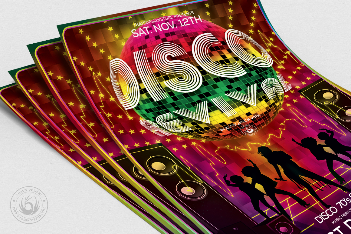 Disco Revival Flyer Template V1 example image 5