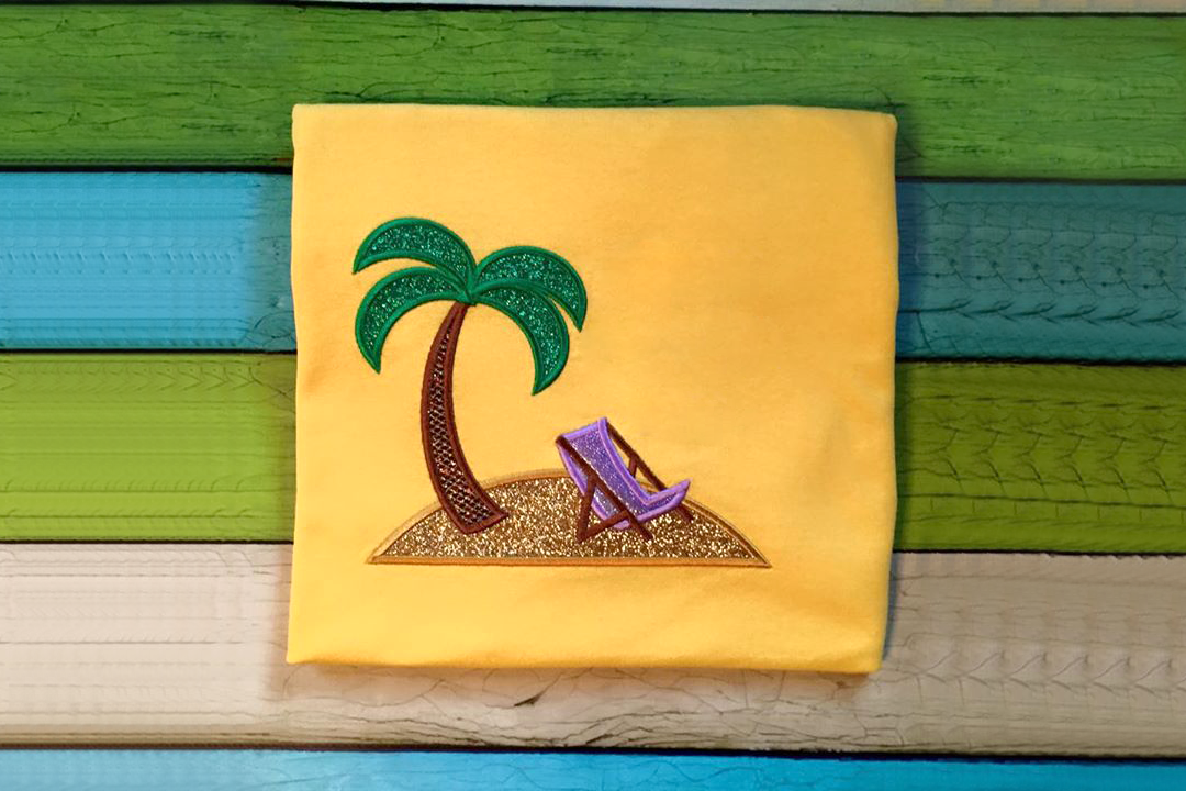 Tropical Island Applique Embroidery Design example image 2