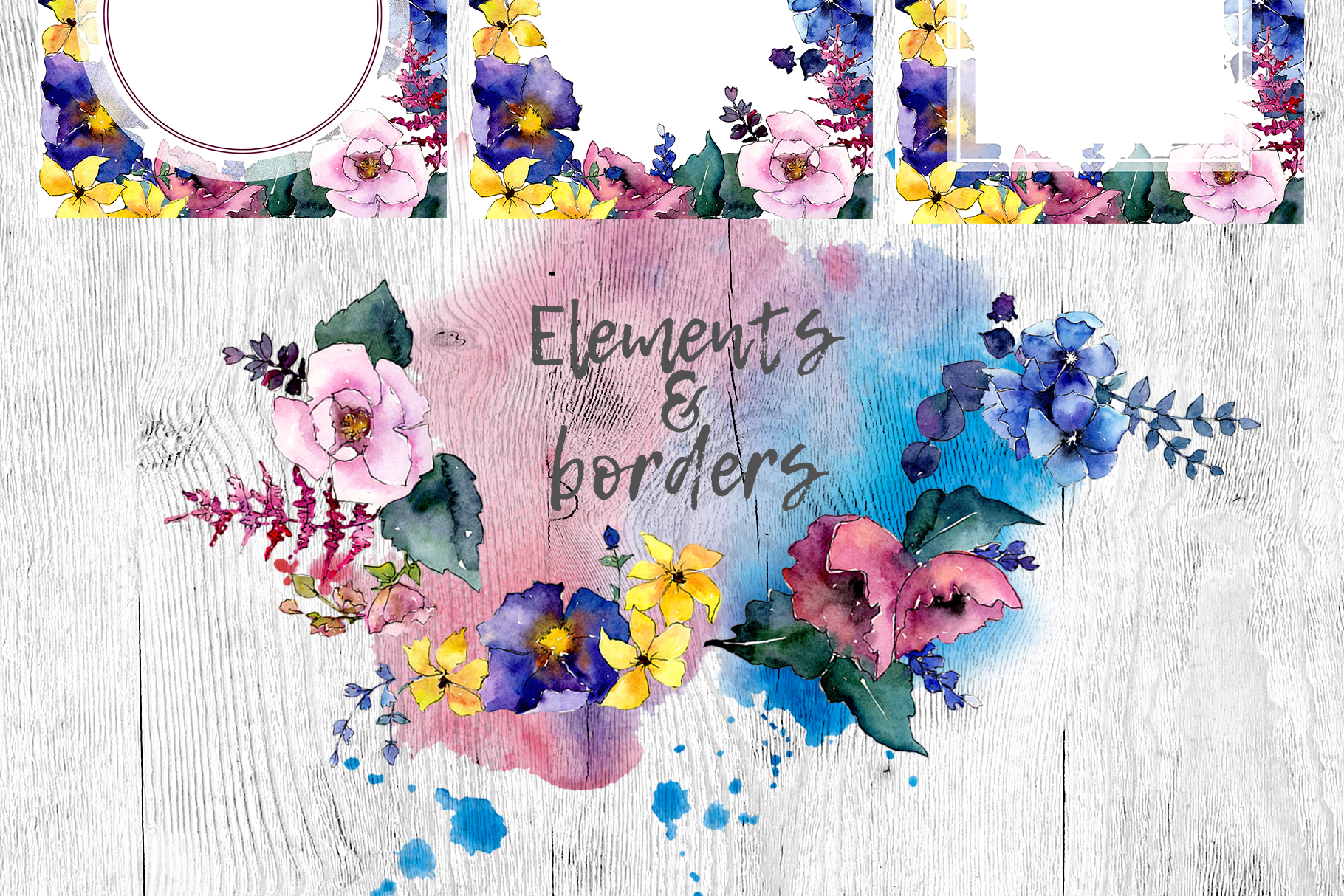 Spring bouquet PNG watercolor flower set  example image 4
