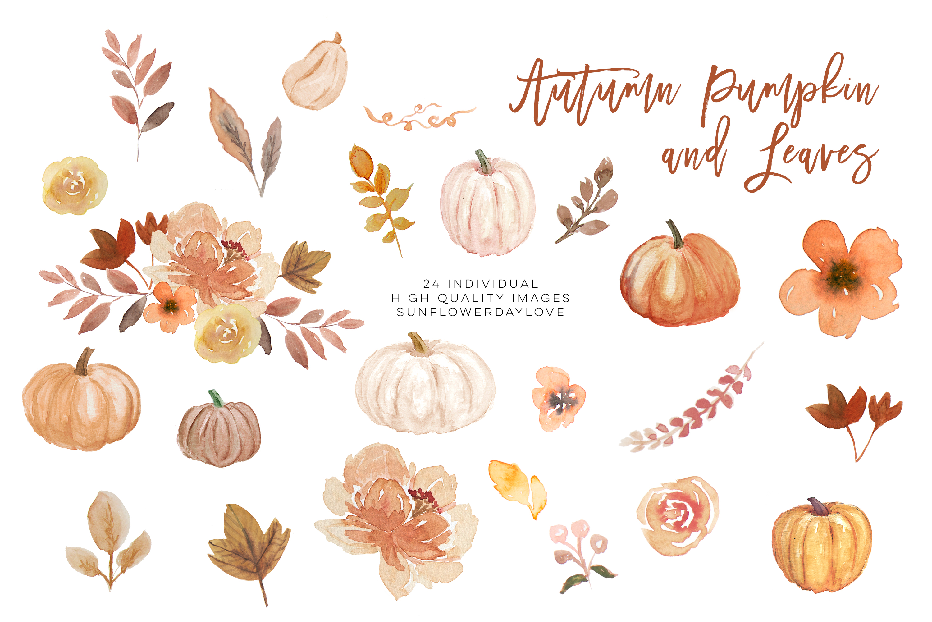 Fall Leaves clipart, Simple Fall Autumn Watercolor clipart, example image 3