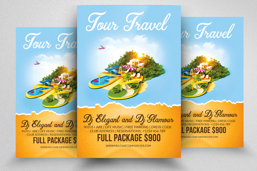 10 Tour Travel Agency Flyer Template Bundle example image 5