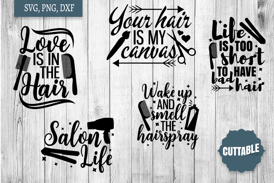 Hairdressers quote SVG bundle, Hairstylist cut file bundle example image 2