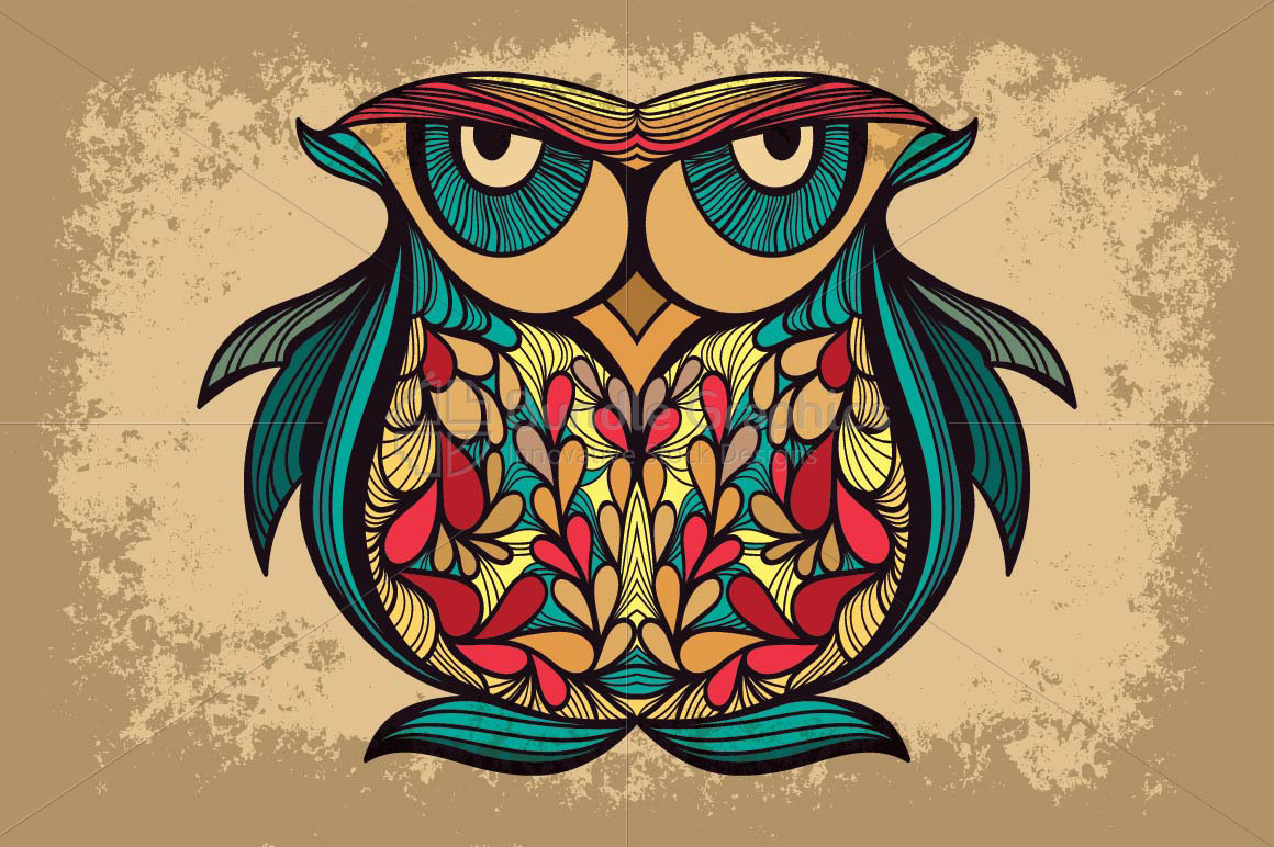 Staring Owl -  Creative Textured Graphics example image 1