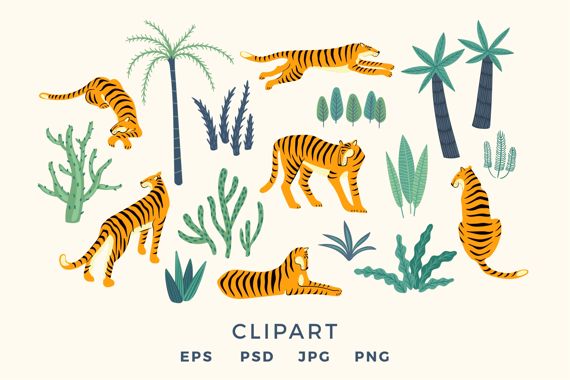 Tiger collection. Patterns & clipart example image 11