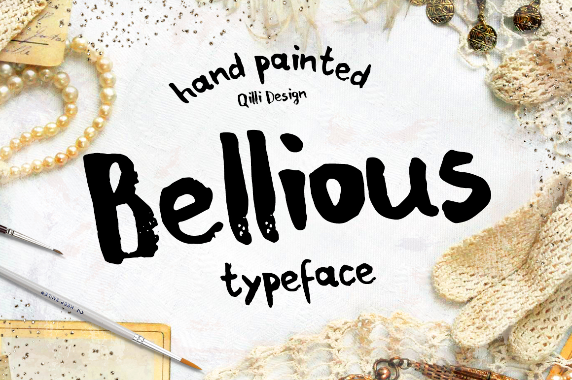 Bellious hand drawn typeface example image 1