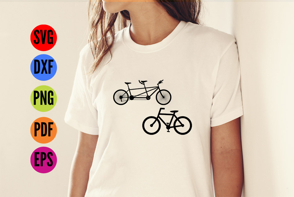 Tandem Bike and Single Bike  SVG Cutting File  example image 4