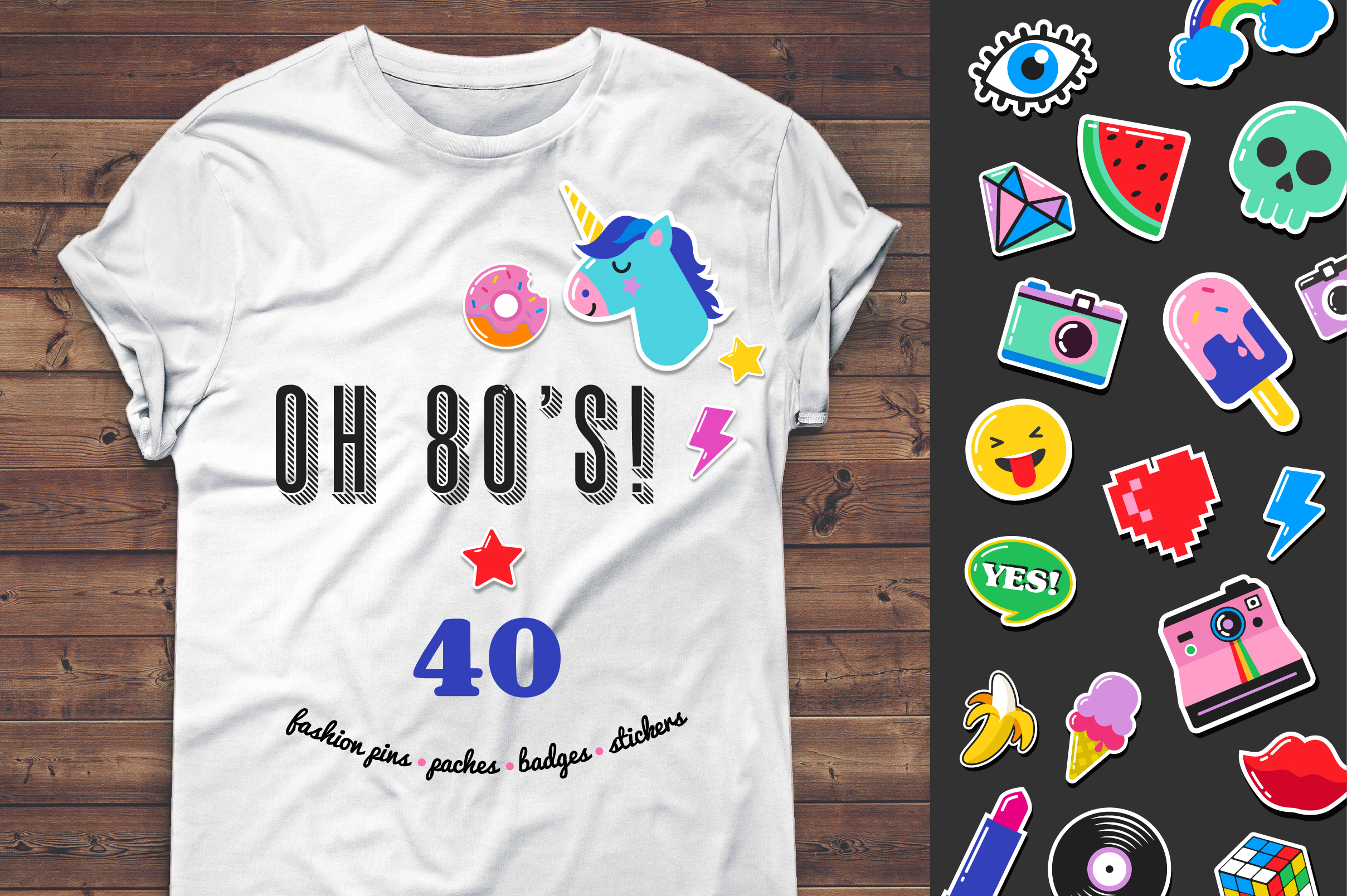 Pop Art 80's patches and stickers example image 5
