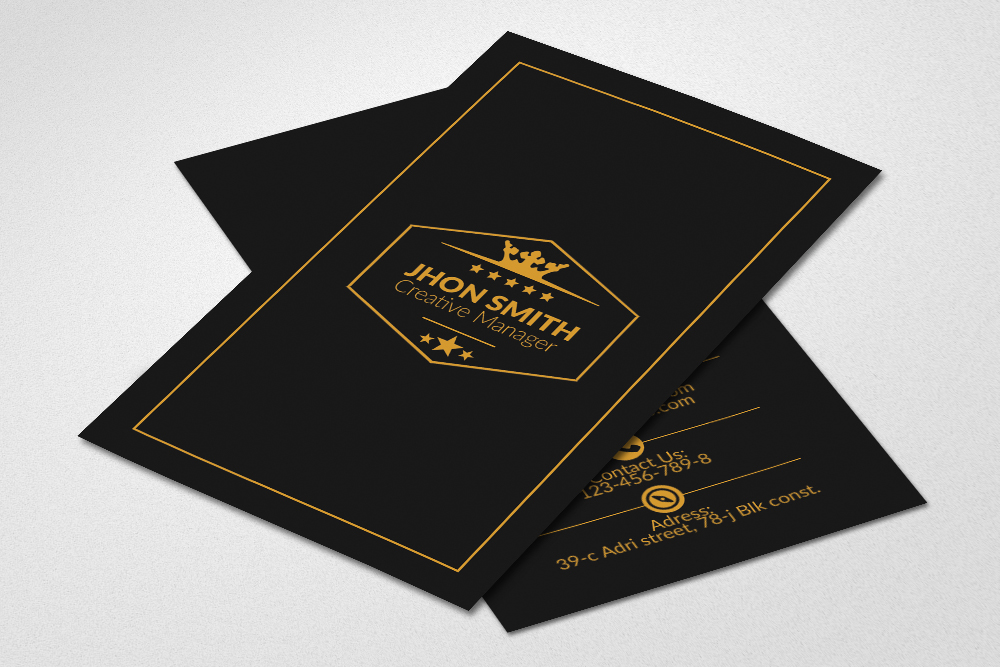 Vertical Black Business Cards example image 2