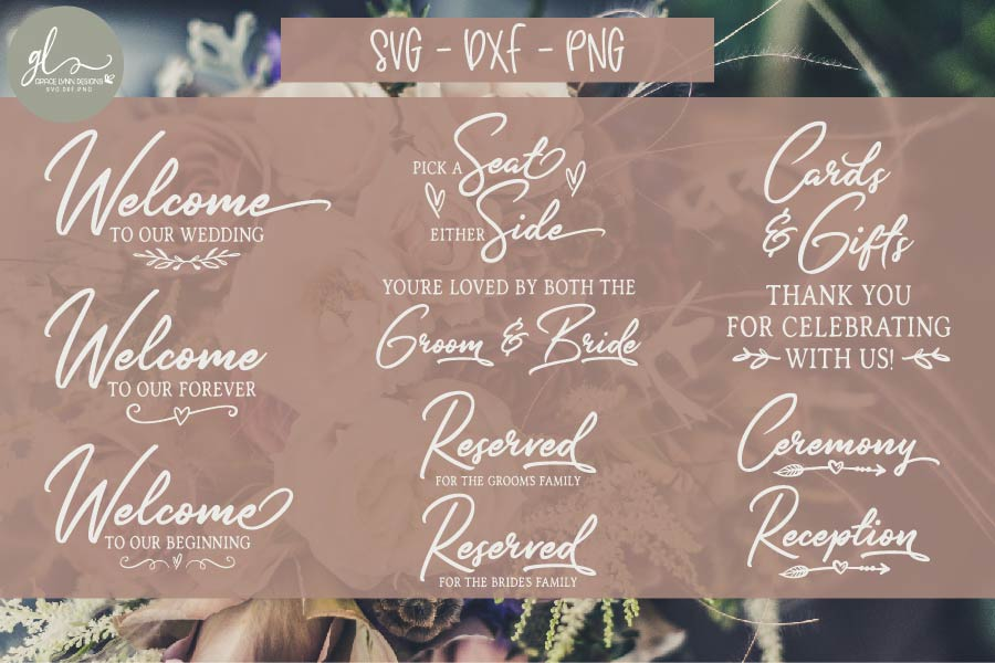 Huge Wedding Sign SVG Bundle - 25 Designs - SVG, DXF & PNG example image 3