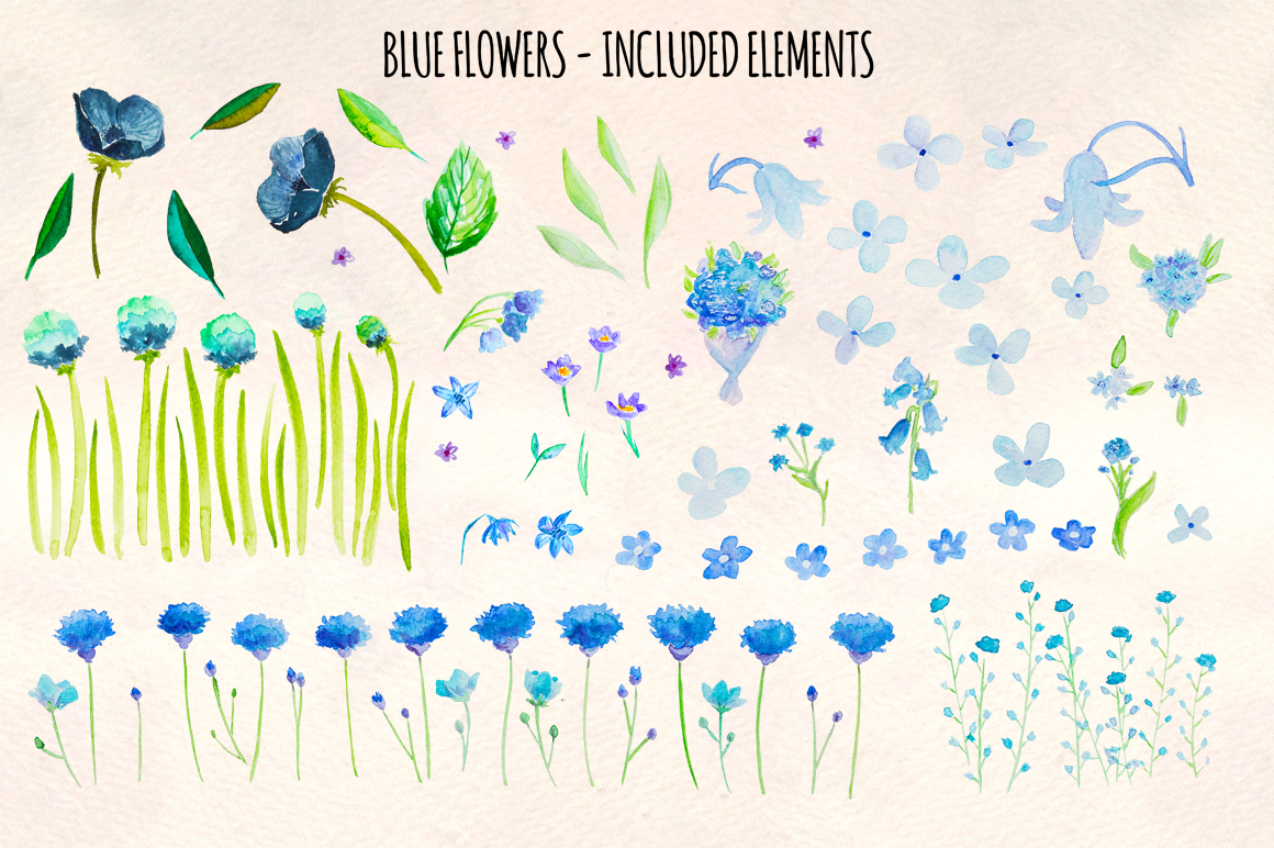 95 Blue Flower Watercolor Elements example image 2