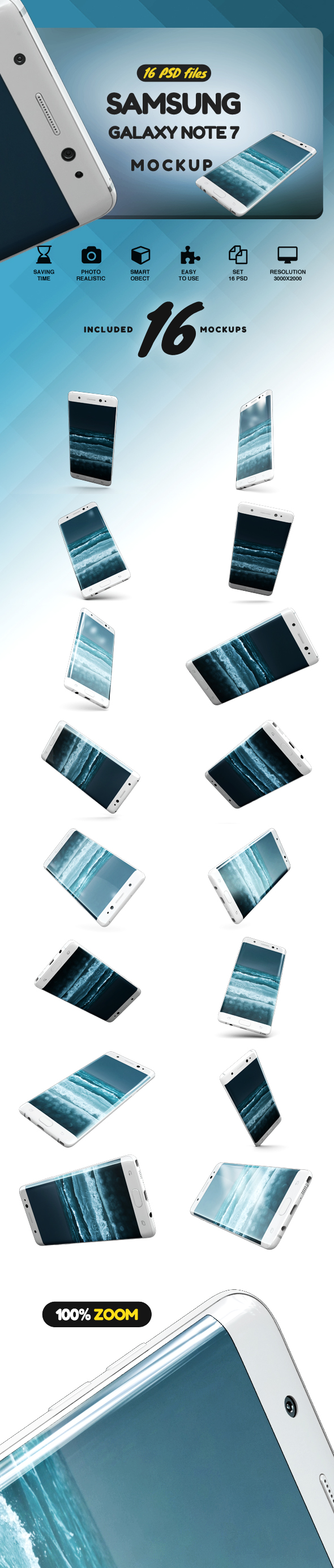 Samsung Galaxy Note 7 Gravity Mockup example image 2