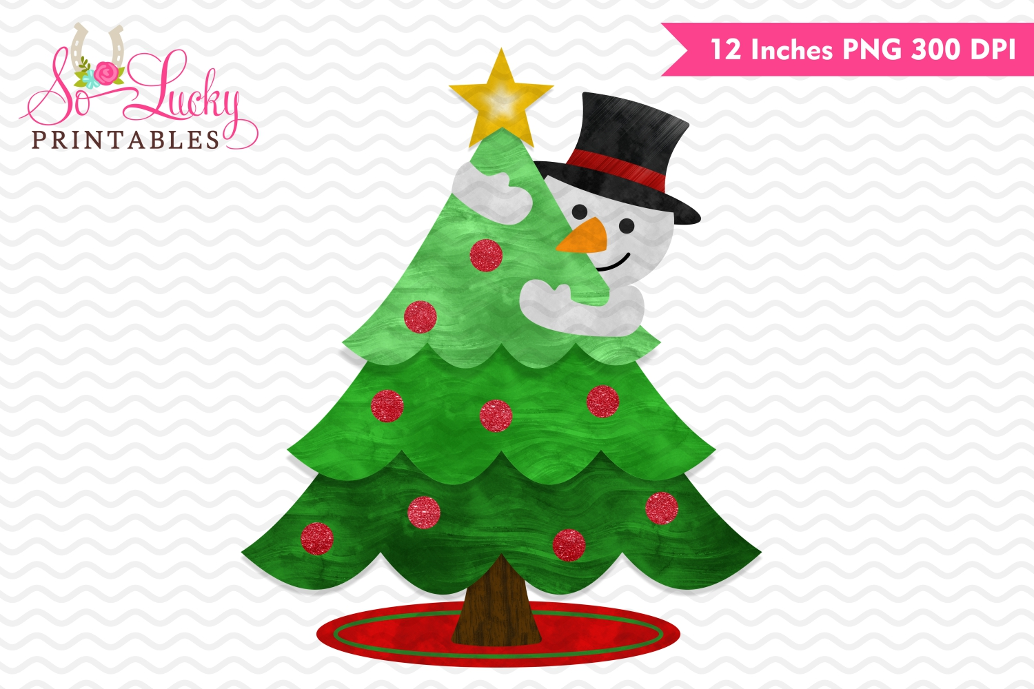 Snowman and Christmas Tree watercolor sublimation design example image 1