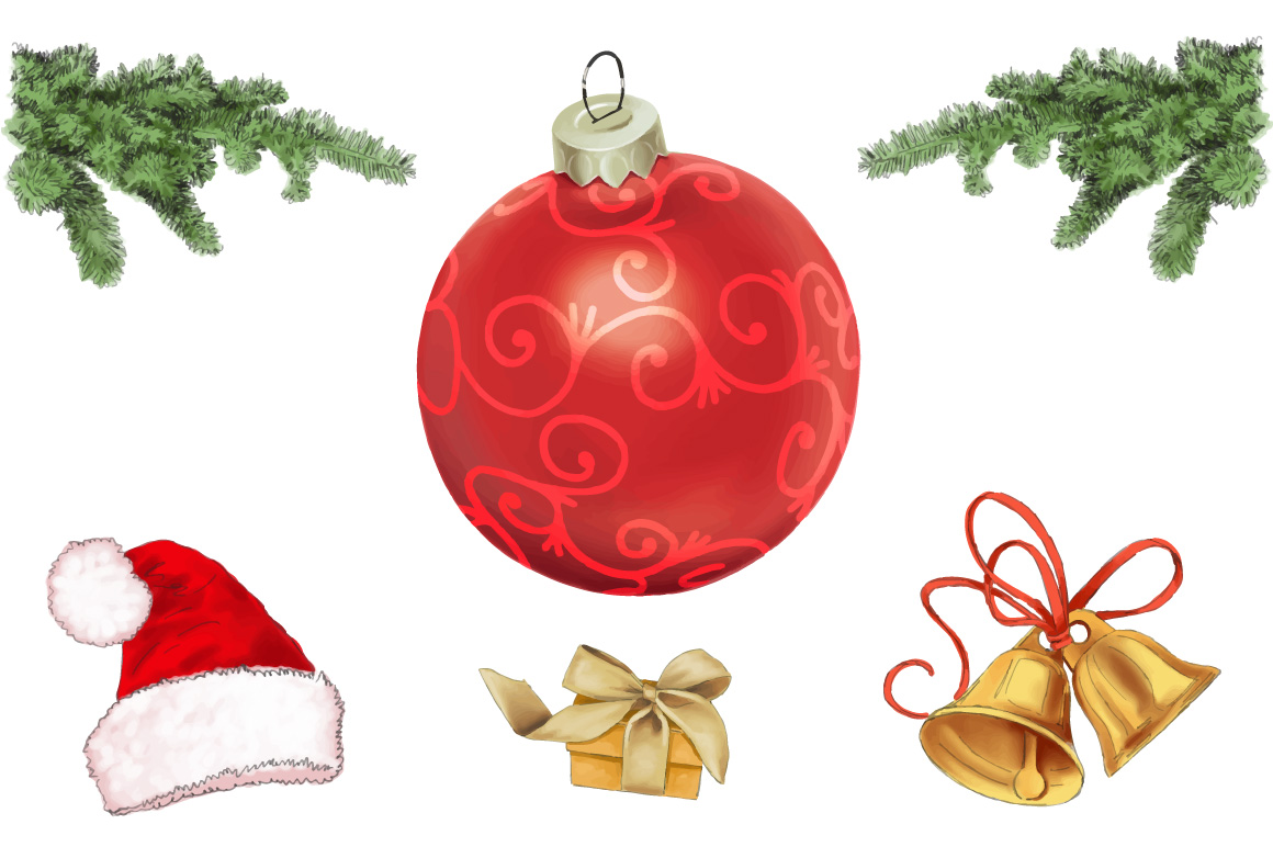Merry Christmas elements hand painting vector example image 1