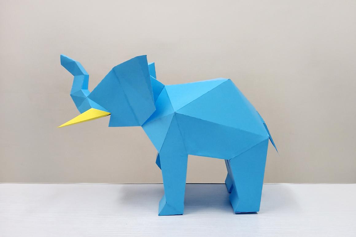 DIY Elephant Sculpture - 3d papercraft example image 3