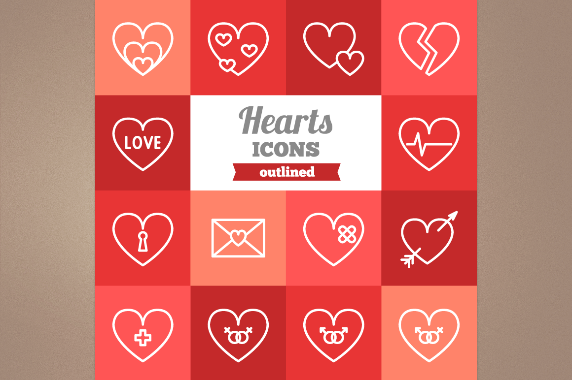 Outlined Hearts Icons example image 1