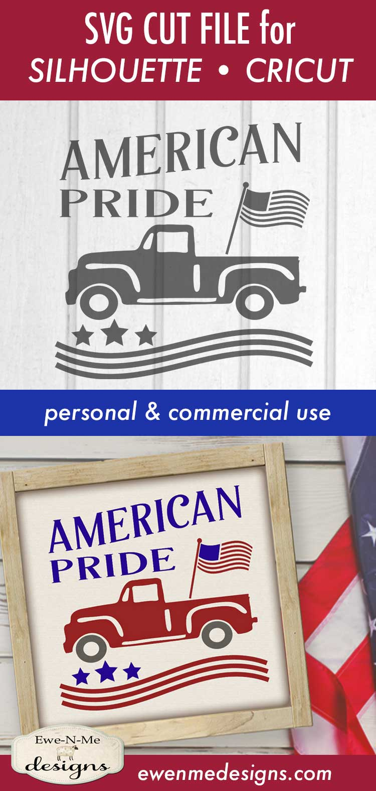 American Pride - Vintage Truck - Flag 4th of July - SVG DXF example image 4