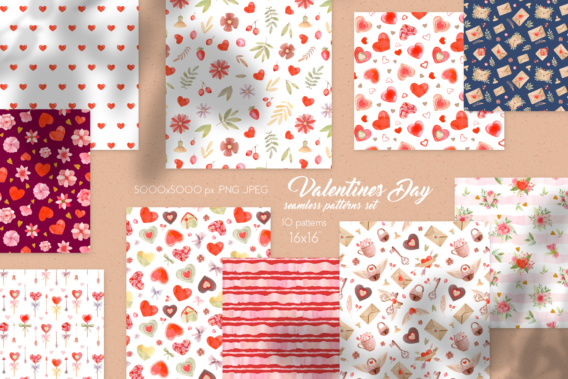 Valentines Day Seamless Patterns example image 1