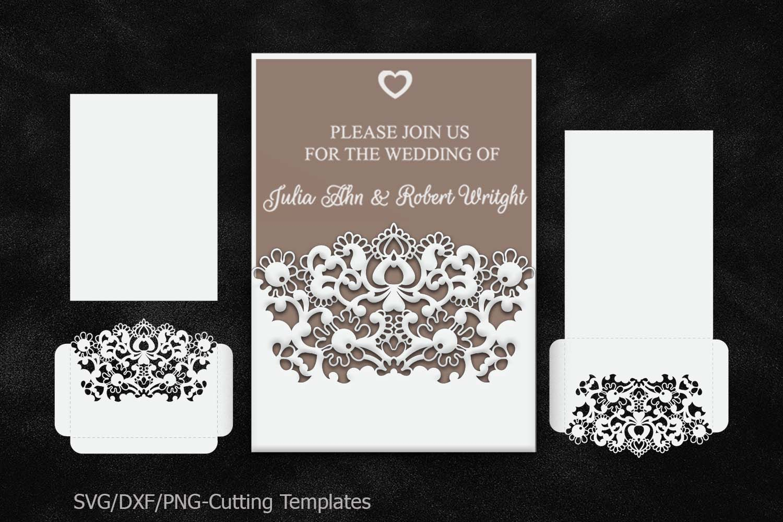 rustic wedding invitation pocket envelope 5x7 svg template. Black Bedroom Furniture Sets. Home Design Ideas