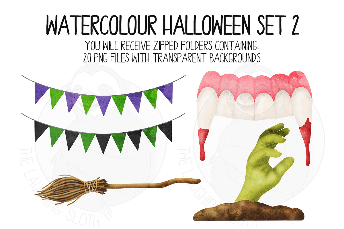 Watercolor Halloween Clip Art Set 2 example image 2