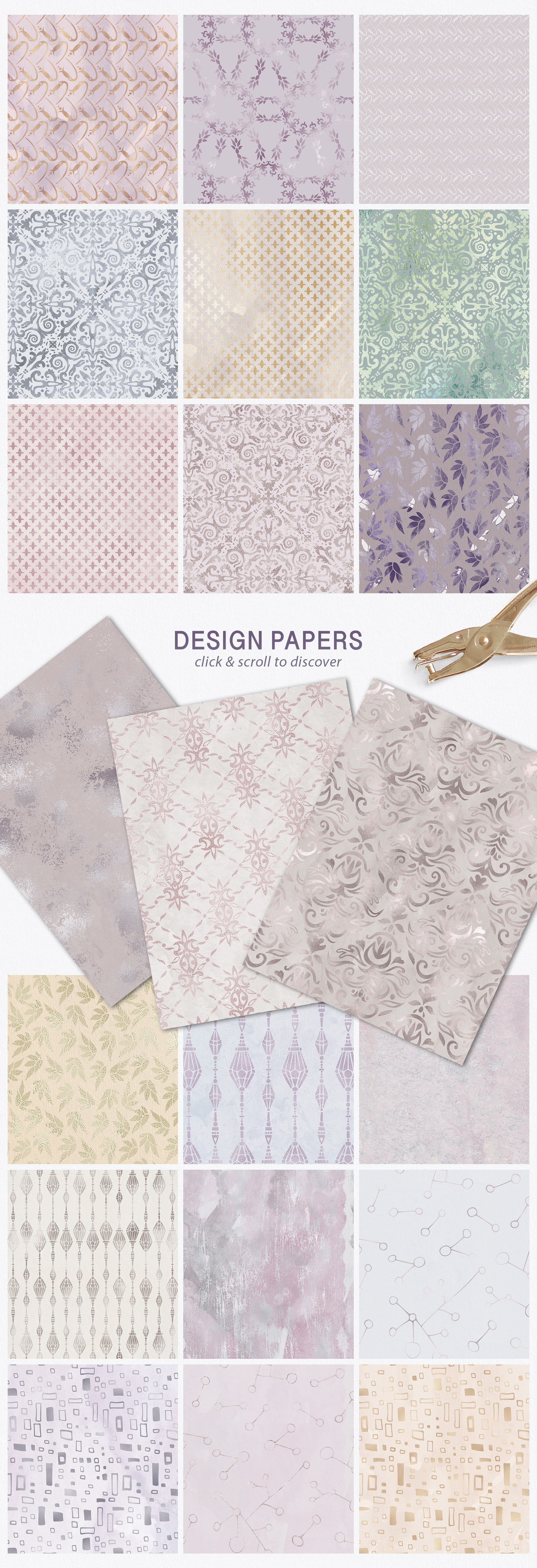 Seamless Textures & Patterns Bundle - Shabby Chic Design Kit example image 7