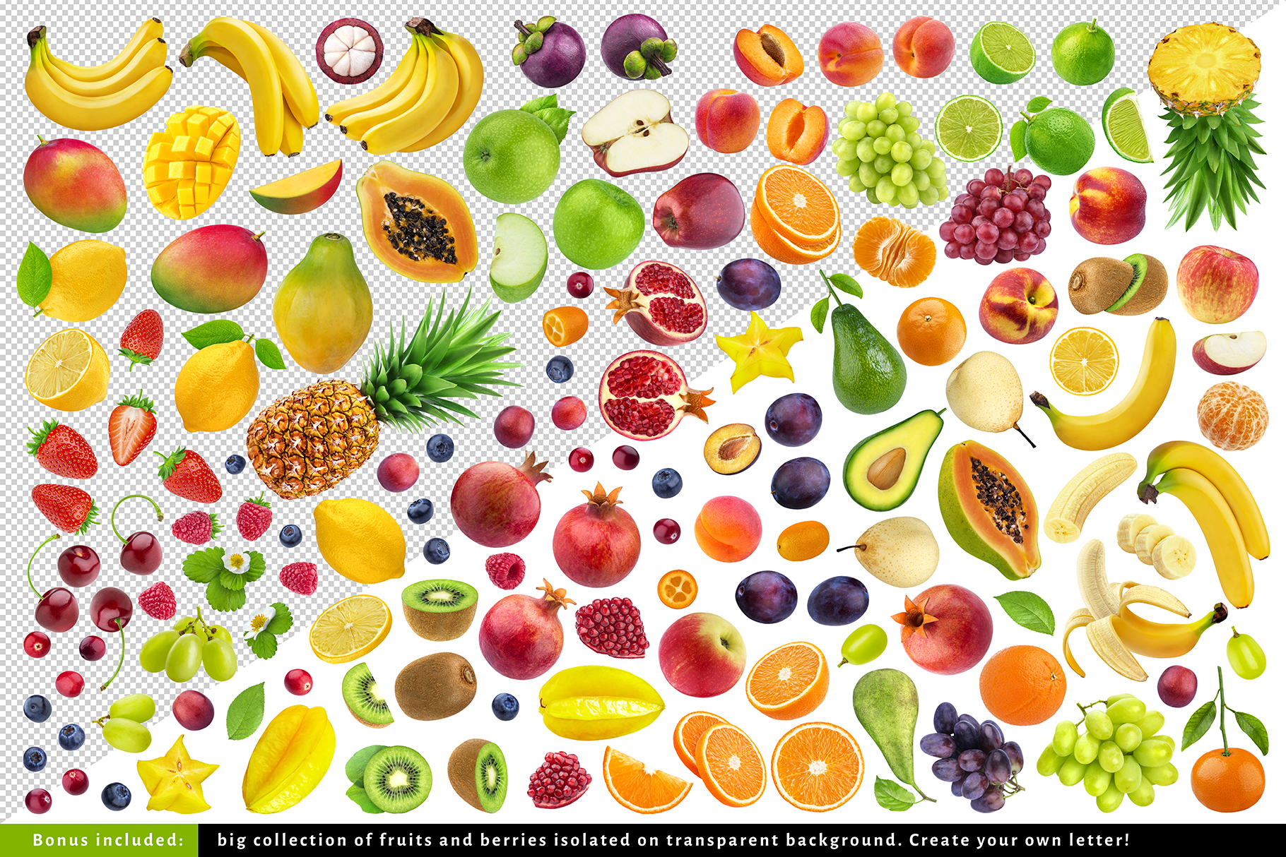 Fruits and berries alphabet, healthy alphabet example image 6