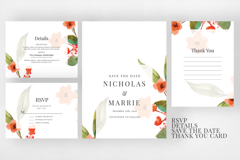 Watercolor Floral Wedding Suite example image 3