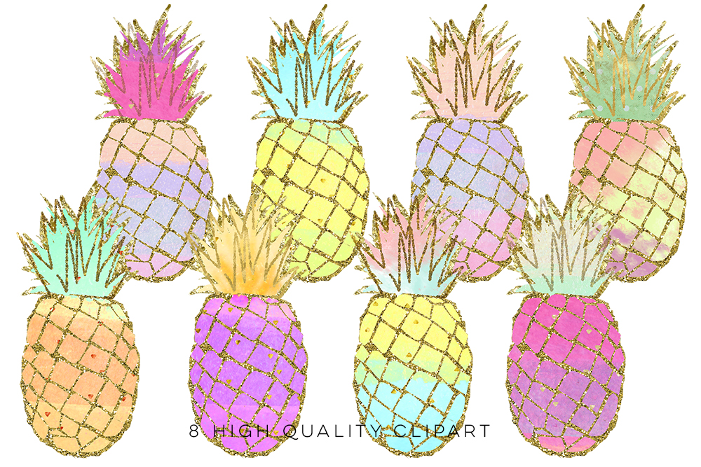 pineapple clip art, Gold Pineapples, gold pineapple clip art, Gold Texture Pineapples, Gold foil pineapples, Summer Clip Art, Tropical example image 1