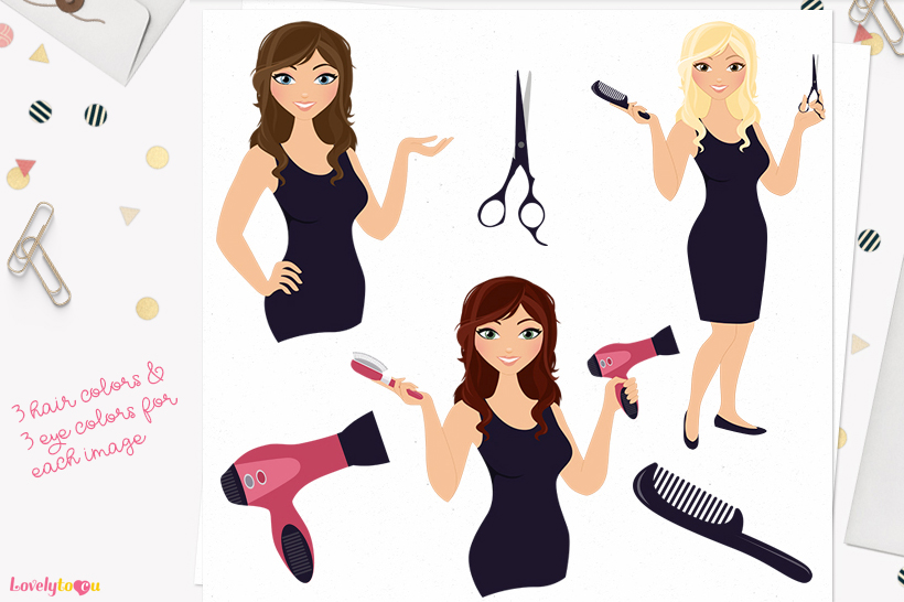 Woman hair stylist character clip art L101 Brook example image 1