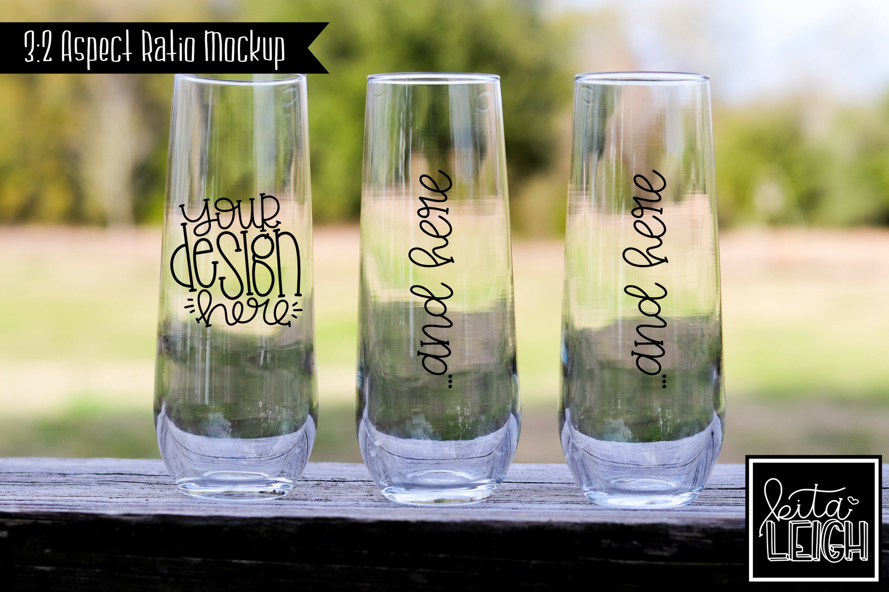 Bridal Party Champagne Toasting Flute Rustic Wedding Mockup example image 1