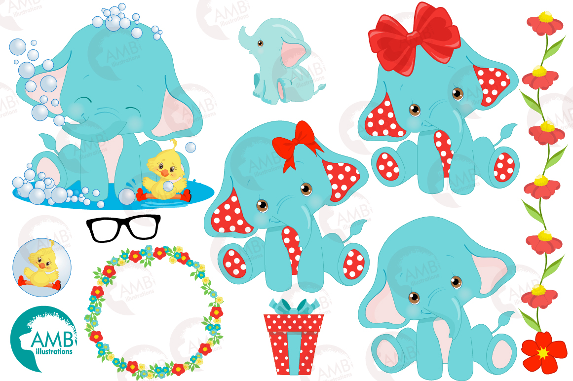BABY ELEPHANT BUNDLE! 53 cliparts, graphics and illustrations and Patterns AMB-2273 example image 11