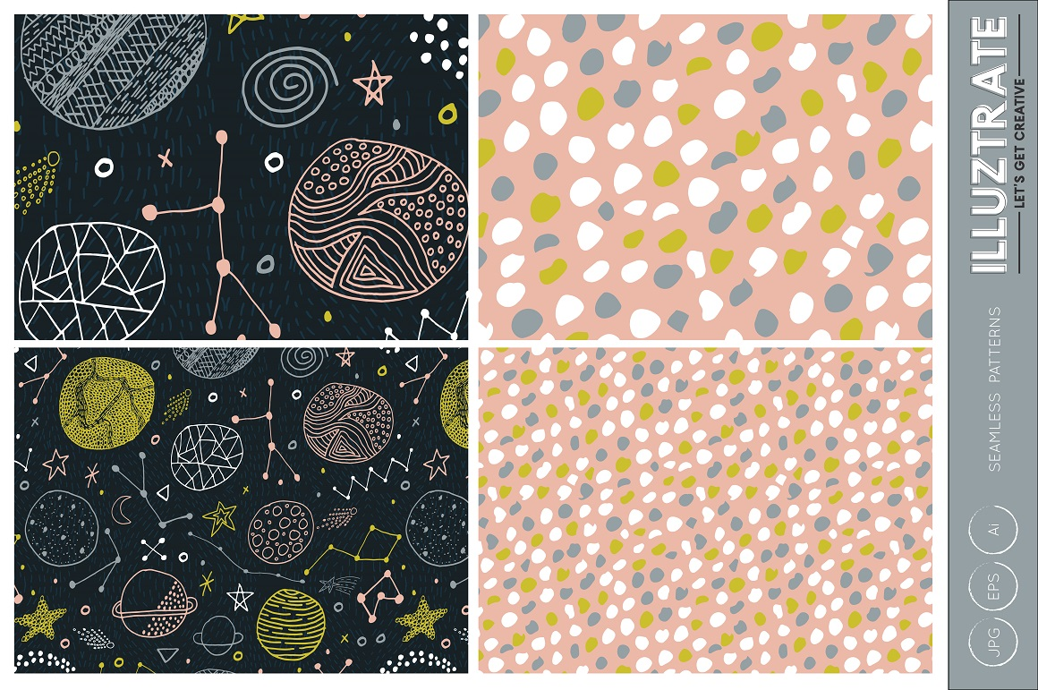 Space Patterns, Space Vector Pattern, Space Digital Paper example image 2