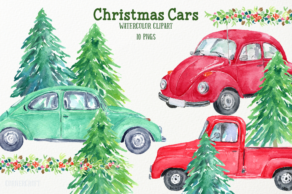 Watercolor Christmas Cars example image 1