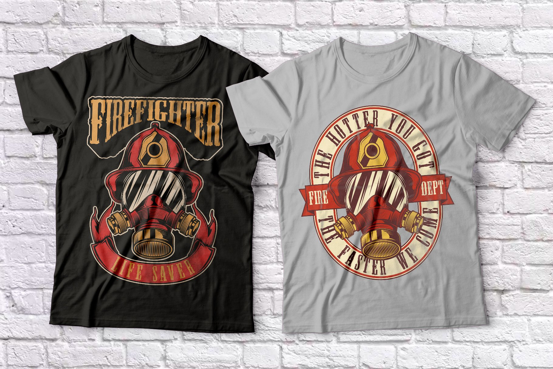 Firefighters t-shirts set example image 2