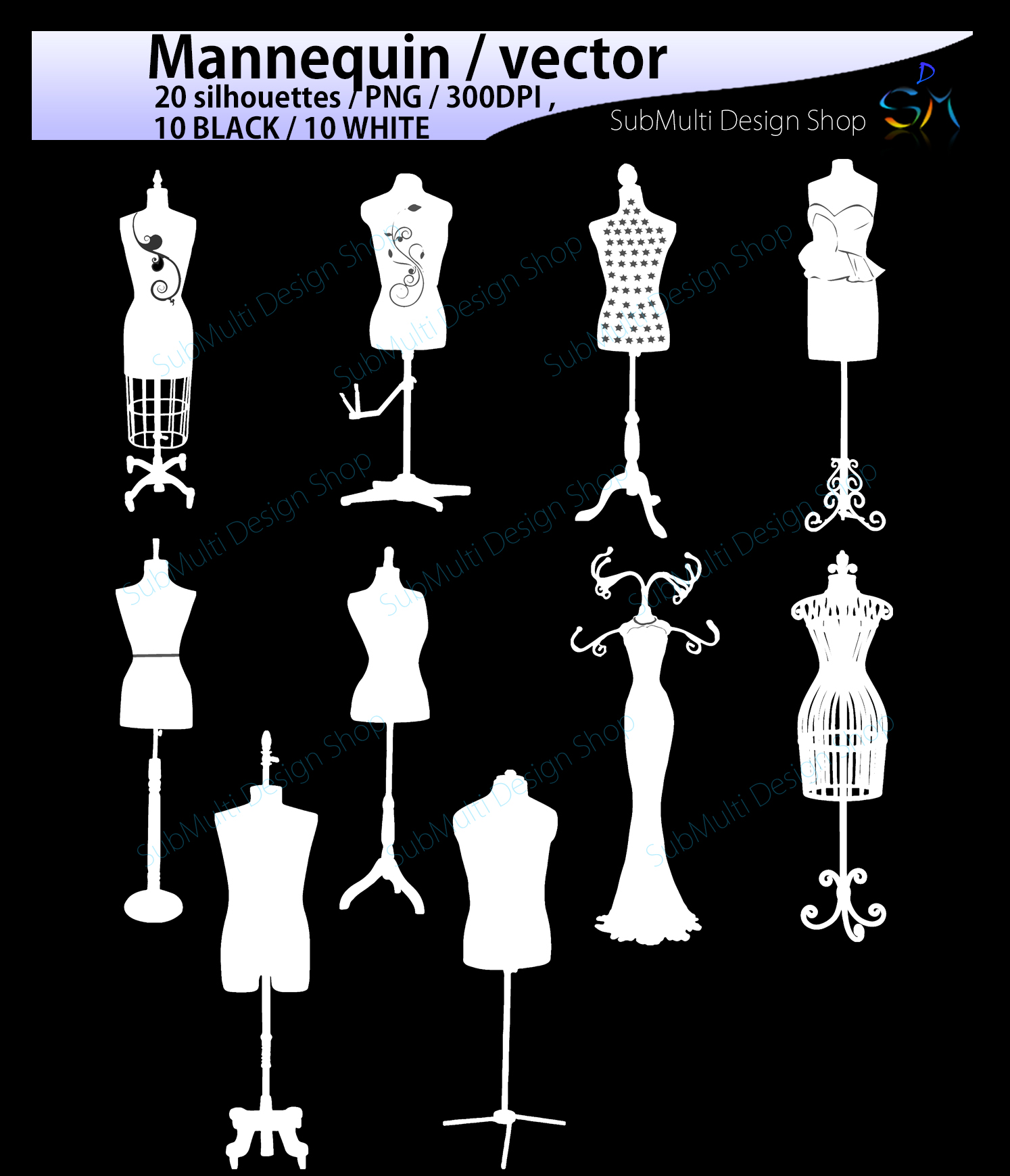 Mannequin svg / mannequin silhouette / EPS / SVG files / mannequin clipart / mannequin craft file / PNG /High Quality / 10B + 10w example image 3
