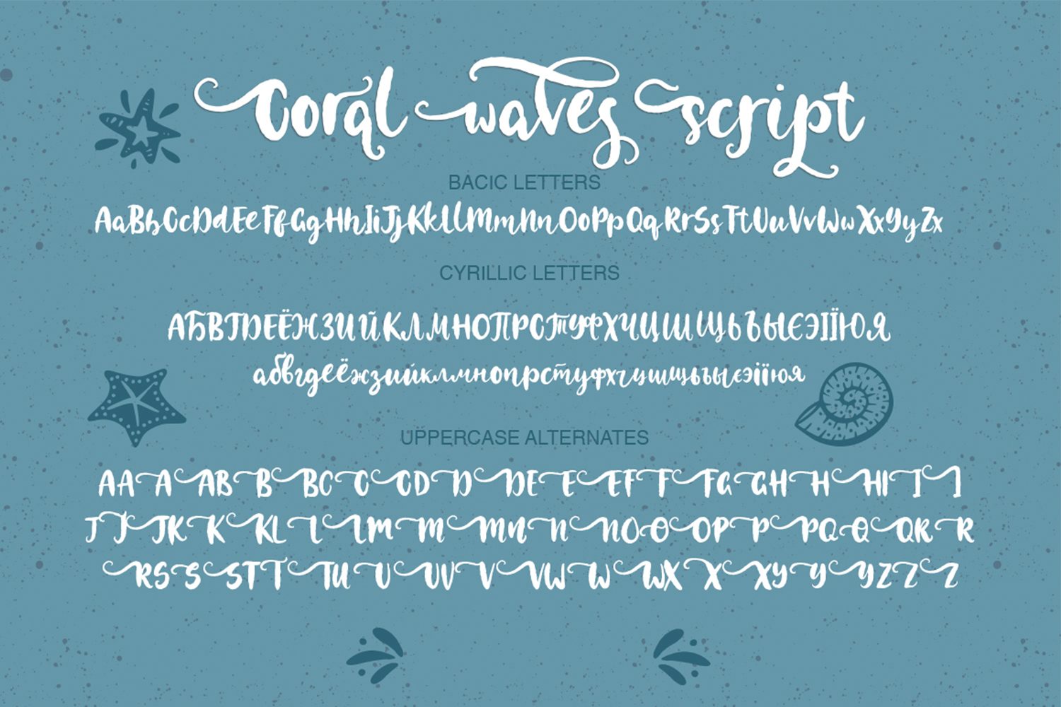 Coral waves. Font and clip arts. example image 4