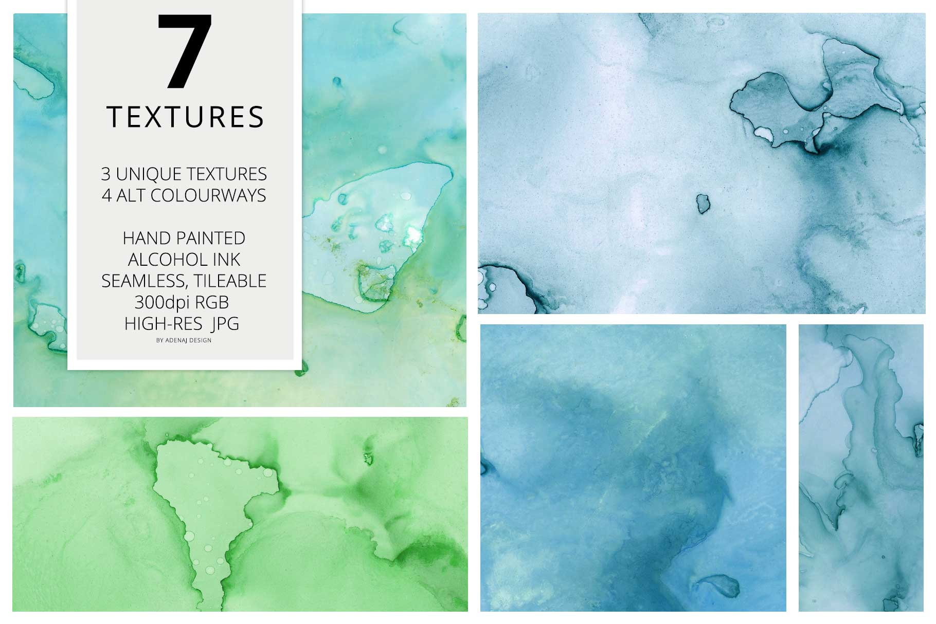 7 Huge Seamless Green Alcohol Ink Textures example image 2
