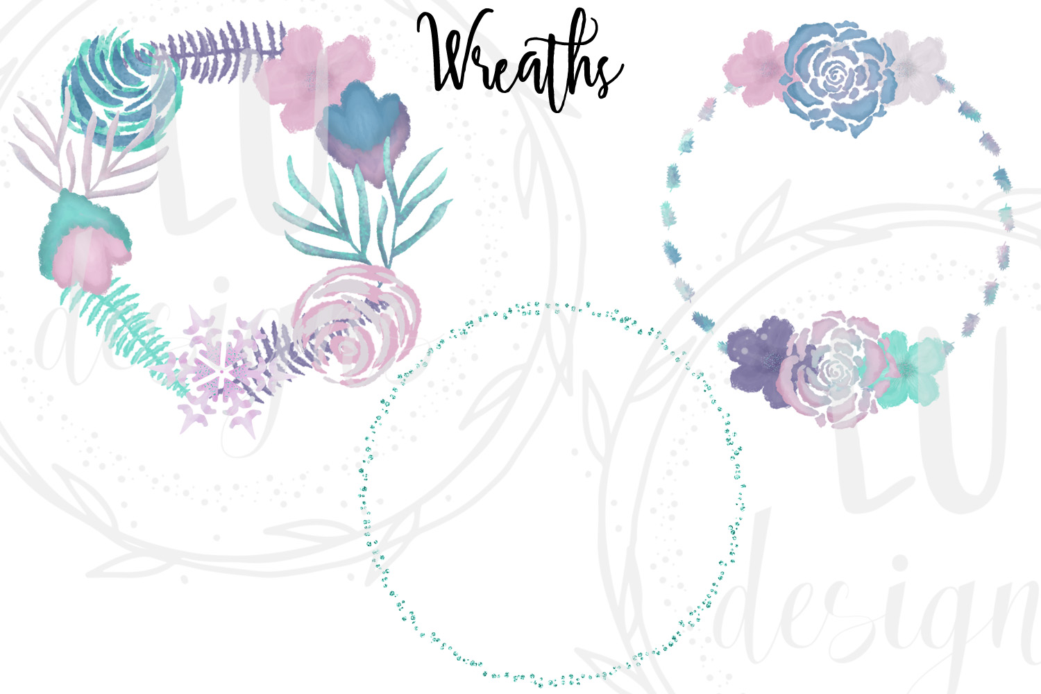 Winter Flowers Clipart, Watercolor Floral Winter Graphics example image 6