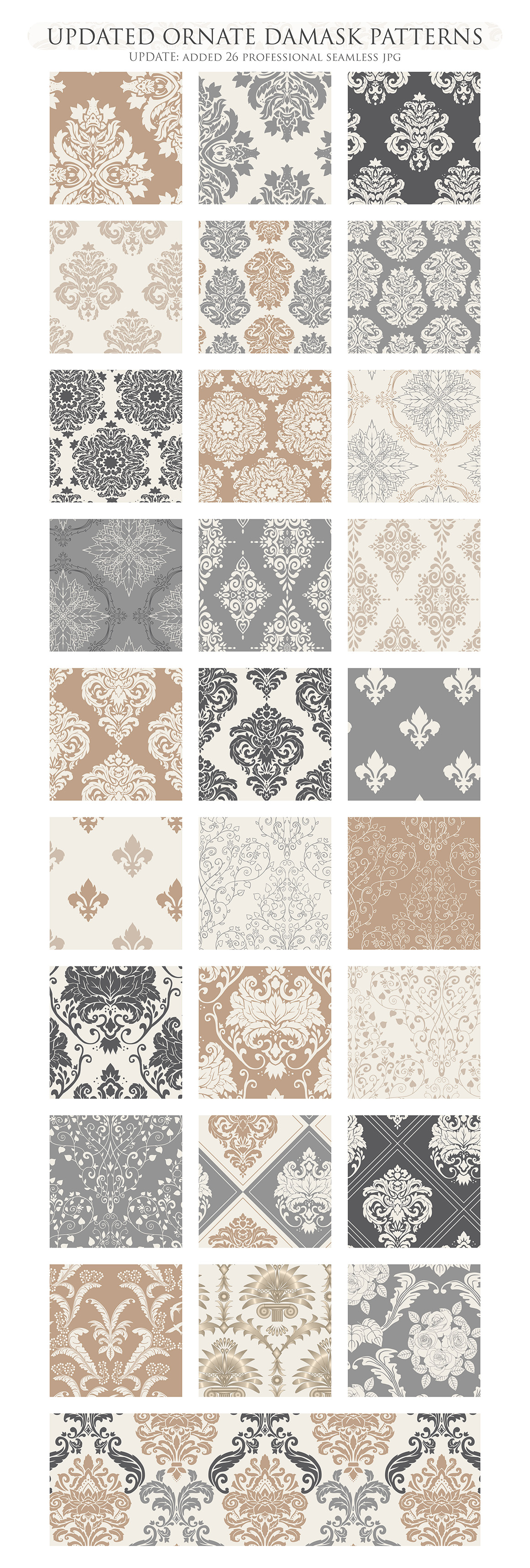 28 Neutral Damask Patterns - Wedding Seamless Digital Papers Bundle example image 3