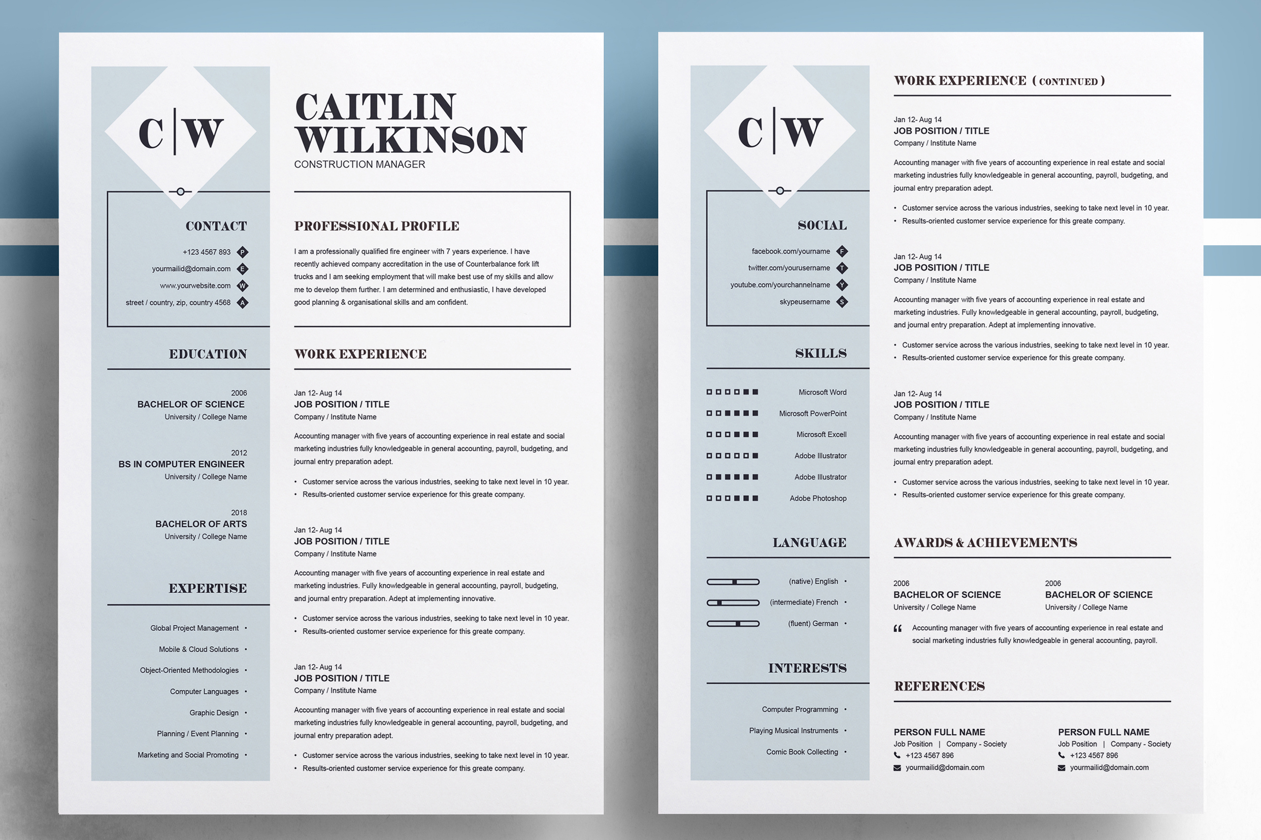 Professional Resume Template | MS Word, PSD, EPS example image 2