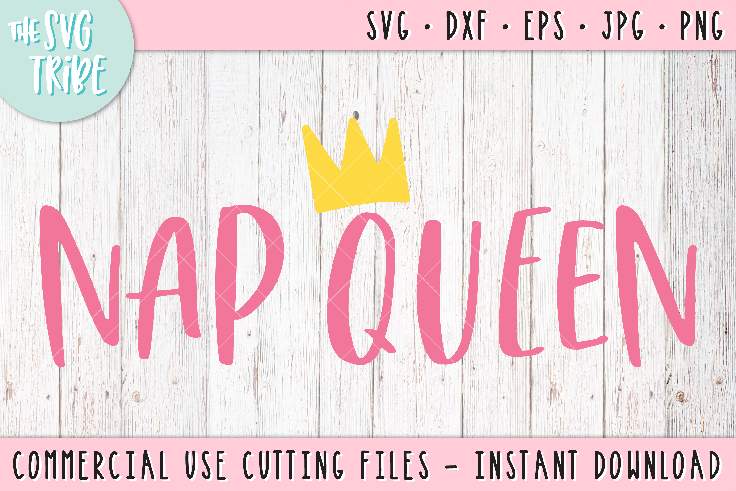 Nap Queen, SVG DXF PNG EPS JPG Cutting Files example image 1