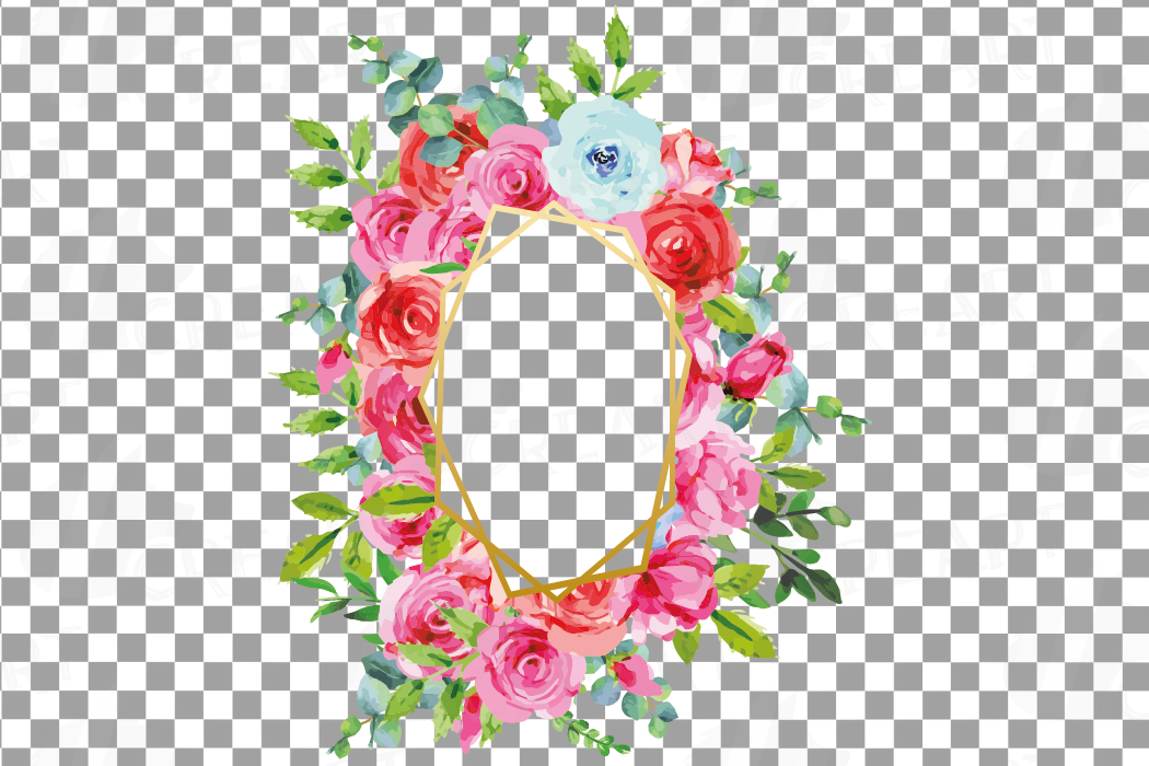 Boho pink and blue floral frames watercolor clip art pack example image 15