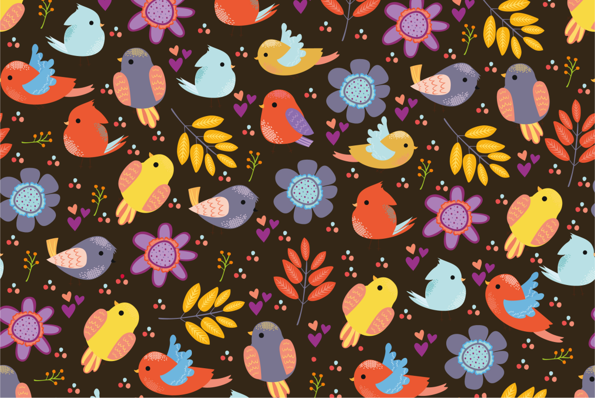 Seamless patterns with birds example image 3