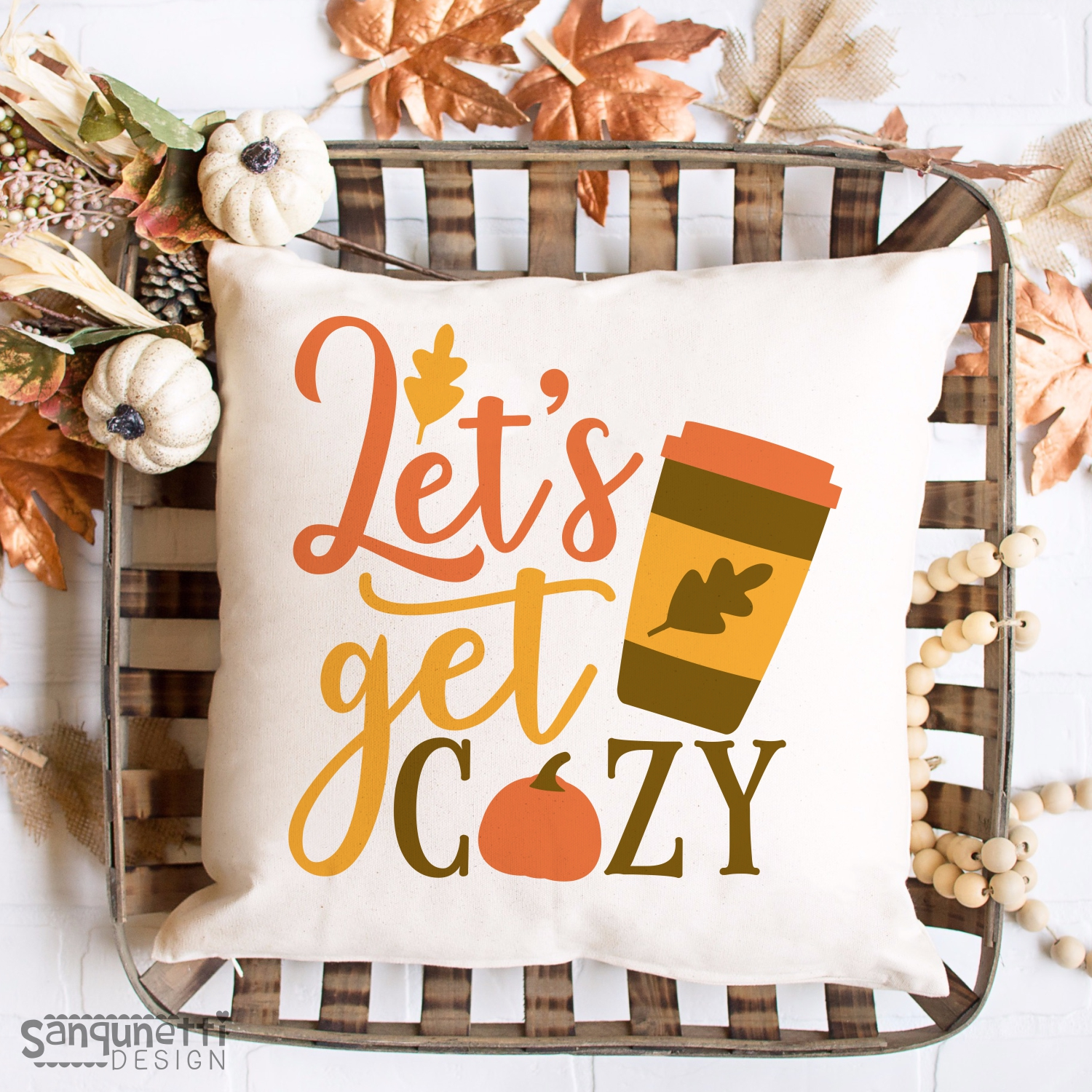 Let's get cozy fall SVG, coffee and pumpkin autumn cut file example image 2