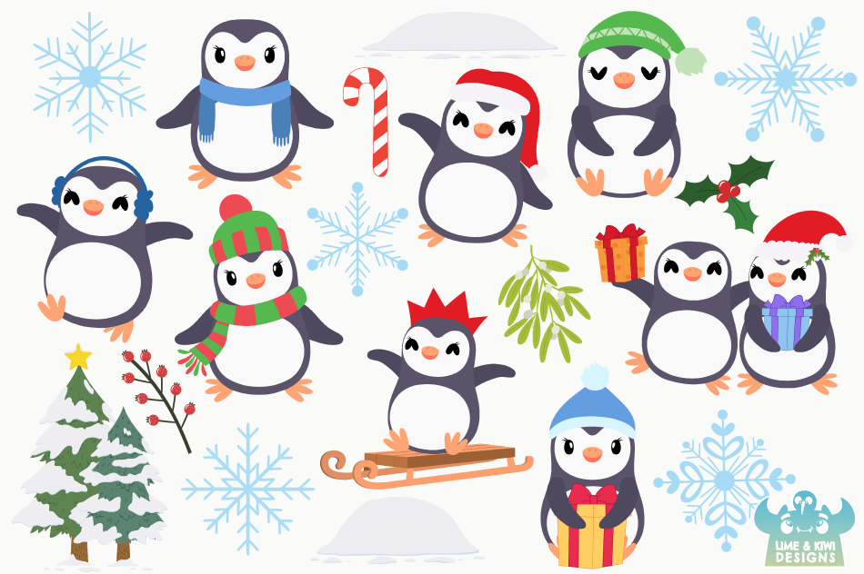 Christmas Penguins Clipart, Instant Download Vector Art example image 2